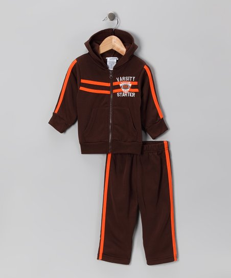 Brown 'Varsity' Zip-Up Hoodie & Pants - Infant, Toddler & Boys