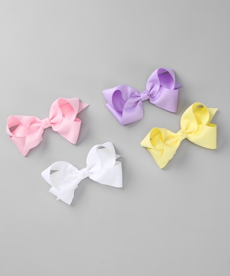 Large Pastel Bow Clip Set