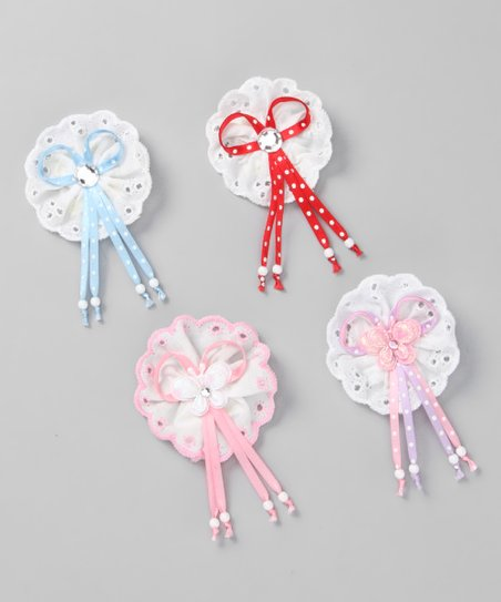Red & Blue Butterfly & Bling Clip Set