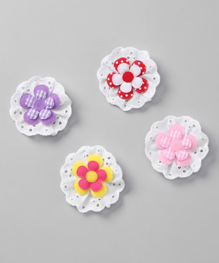Pink & Purple Gingham Flower Clip Set