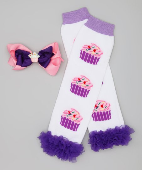 Purple &amp; White Cupcake Leg Warmers &amp; Clip