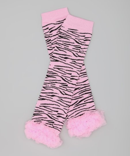 Light Pink & Zebra Ruffle Leg Warmers