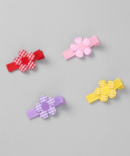 Gingham Daisy Clip Set
