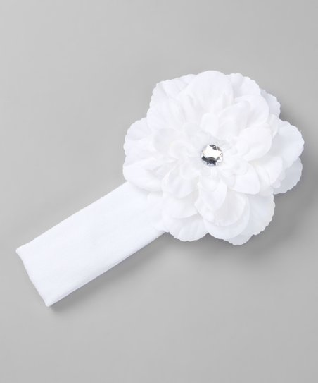 White Rhinestone Flower Stretch Headband