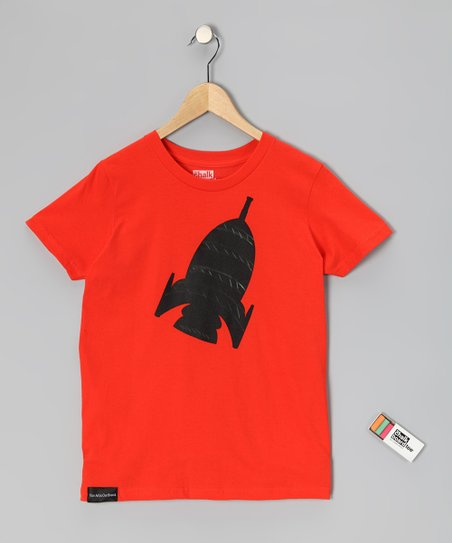 Orange Rocket Chalkboard Tee - Toddler & Kids