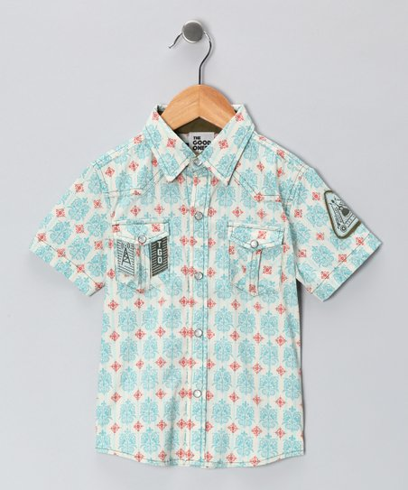 Teal & Red Musicians Unite! Western Button-Up - Boys