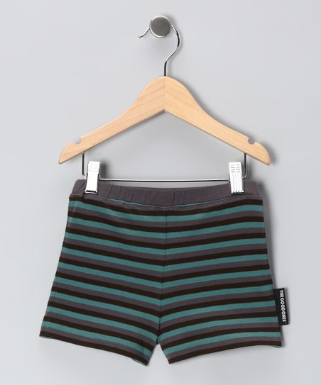 Steel Gray & Teal Lil' Roll Shorts - Infant & Toddler