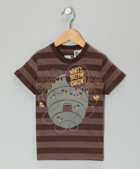 Brown &#039;What&#039;s Buzzin&#039; Stripe Tee - Toddler &amp; Boys