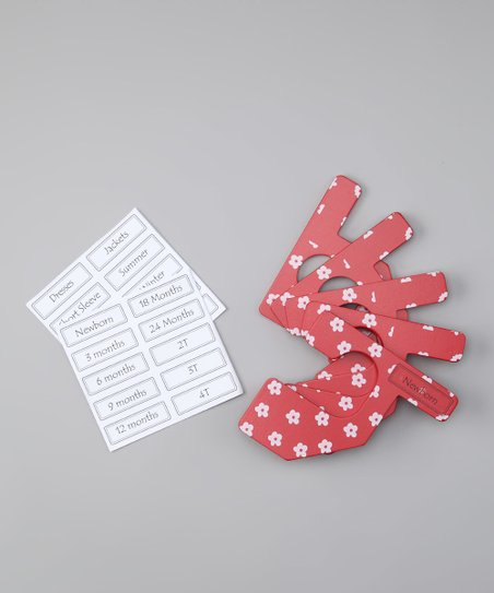 Red & White Flower Closet Divider Set - Infant & Toddler