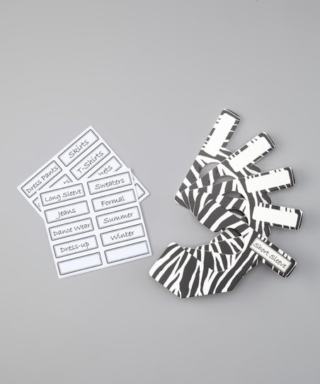 Black & White Zebra Closet Divider Set - Kids
