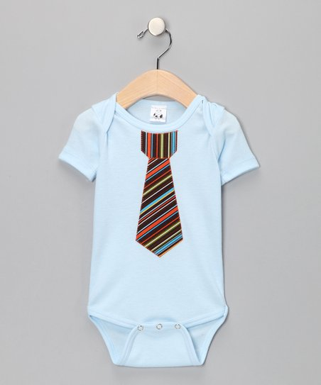 The Happy Cow Company Blue Rockin' Retro Necktie Bodysuit