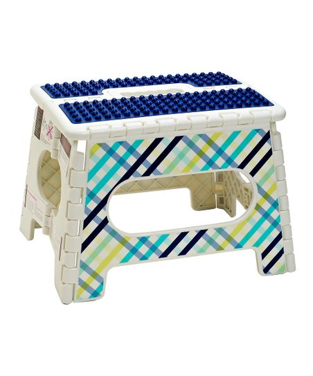Gingham 9'' Folding Step Stool
