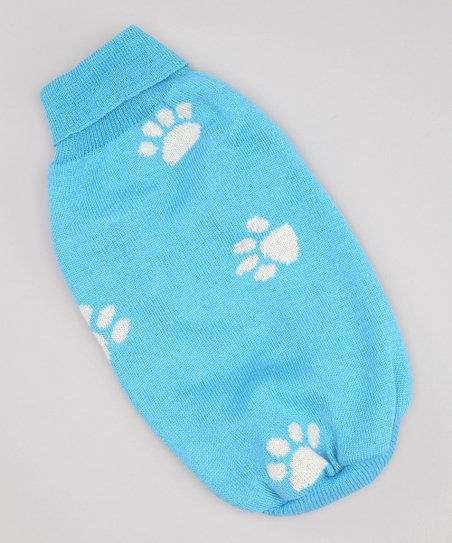 Blue Paw Print Dog Sweater