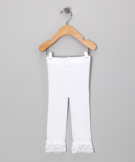 White Lace-Trim Leggings - Toddler