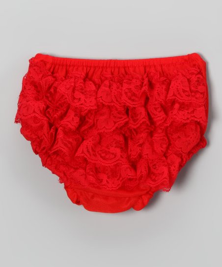 Red Lace Ruffle Diaper Cover - Infant