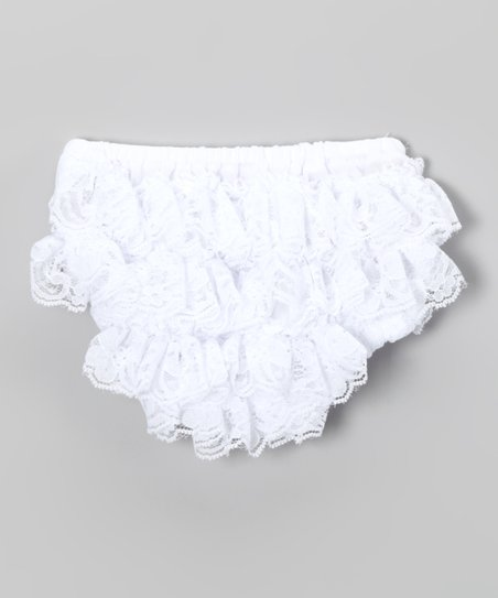White Lace Ruffle Diaper Cover