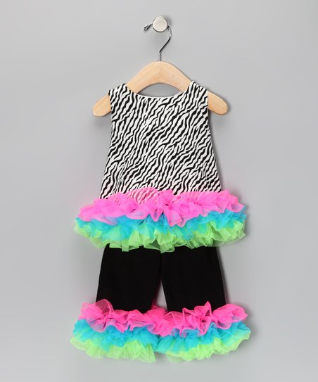 Hot Pink & Turquoise Zebra Top & Pants - Infant