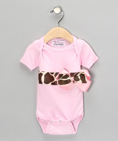 Light Pink Giraffe Bow Bodysuit - Infant
