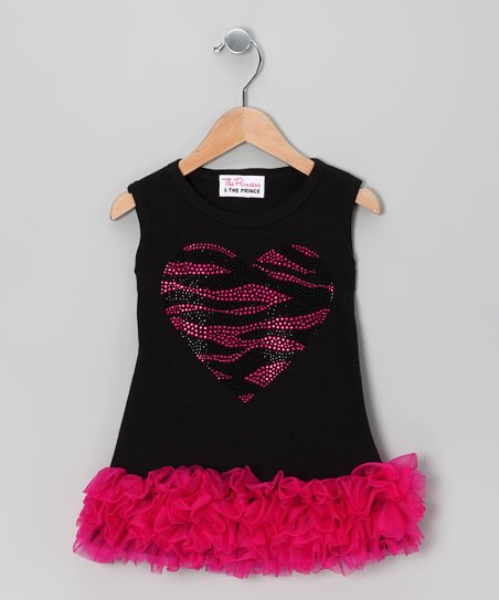 Black Zebra Heart Ruffle Dress - Infant, Toddler & Girls