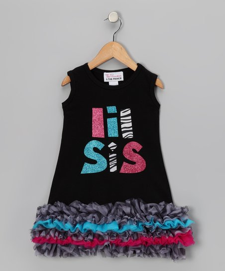 Black 'Lil Sis' Ruffle Dress - Infant, Toddler & Girls