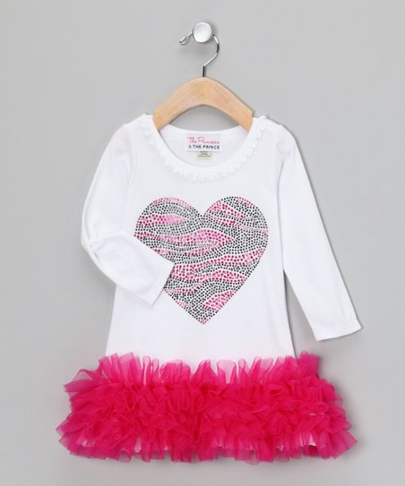 White & Pink Zebra Heart Ruffle Dress - Infant, Toddler & Girls