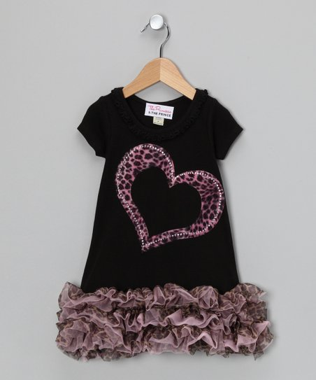 Black & Pink Leopard Heart Ruffle Dress - Infant, Toddler & Girls