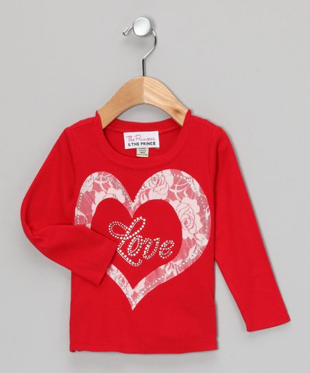 Red & White 'Love' Lace Tee - Infant, Toddler & Girls