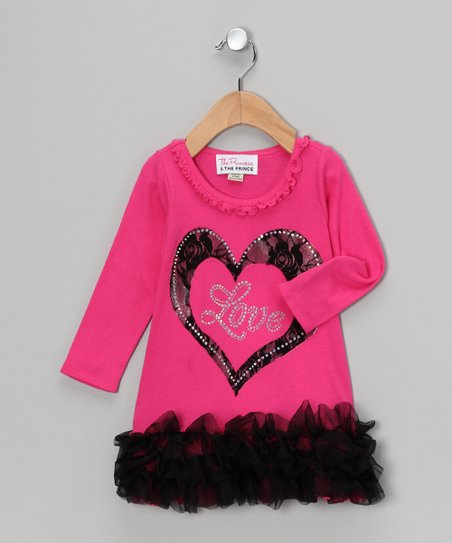 Dark Pink 'Love' Lace Ruffle Dress - Infant, Toddler & Girls