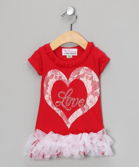 Red & White 'Love' Lace Ruffle Dress - Infant, Toddler & Girls