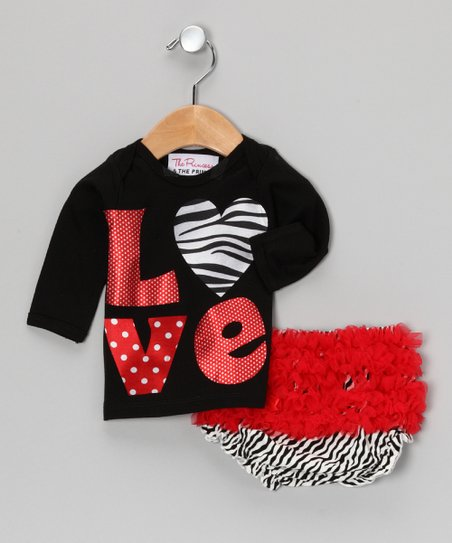 Black 'Love' Tee & Zebra Ruffle Diaper Cover - Infant & Toddler