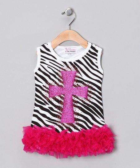 White & Pink Zebra Cross Ruffle Dress - Infant, Toddler & Girls