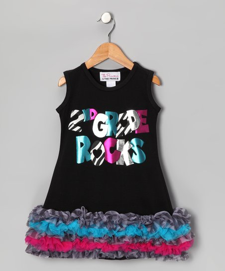 Black '2nd Grade Rocks' Ruffle Dress - Infant, Toddler & Girls