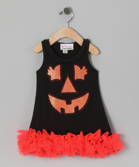Black Jack-o'-Lantern Ruffle Dress - Infant, Toddler & Girls