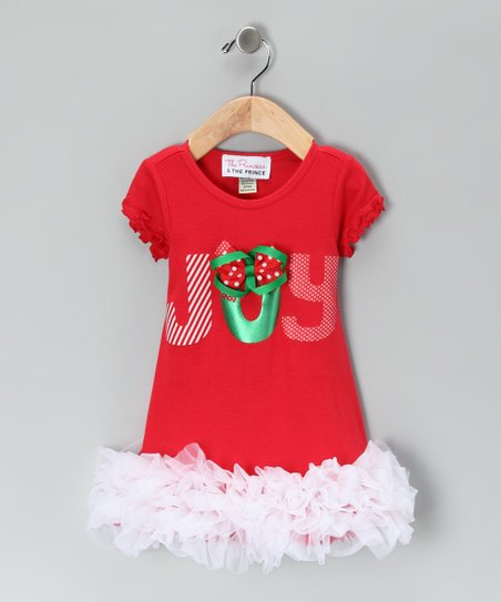 Red 'Joy' Ruffle Dress - Infant, Toddler & Girls