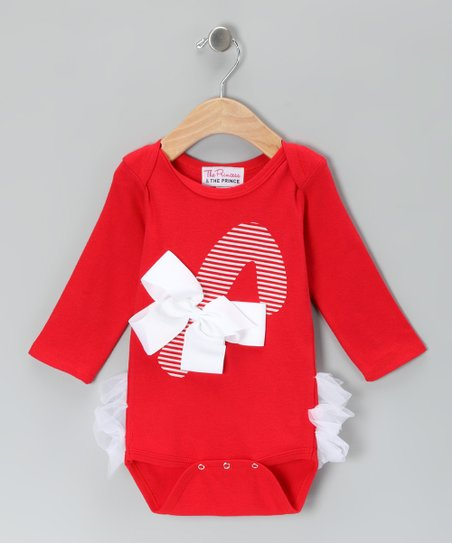 Red Candy Cane Ruffle Bodysuit - Infant