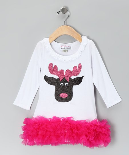 White Reindeer Ruffle Dress - Infant, Toddler & Girls