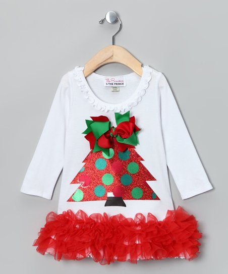 White Christmas Tree Dress - Infant, Toddler & Girls