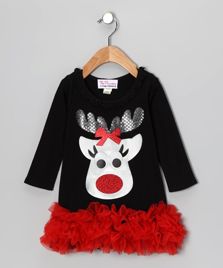 Black & Red Reindeer Ruffle Dress - Infant, Toddler & Girls