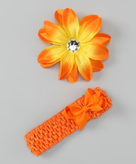 Orange Flower &amp; Bow Headband Set