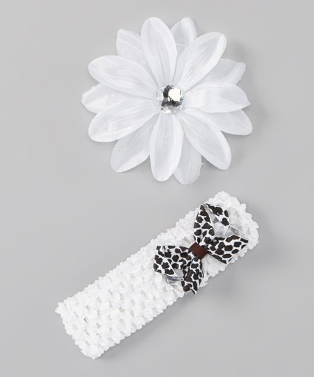White Flower & Leopard Bow Headband Set