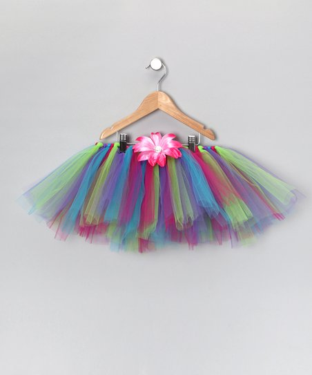 Blue & Purple Tutu & Daisy Clip - Infant, Toddler & Girls