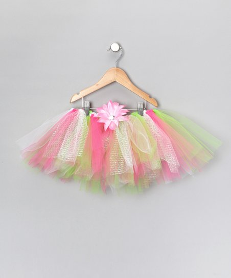 Pink & Green Tutu & Clip - Infant, Toddler & Girls