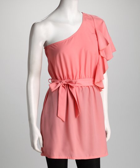 Pink Sash-Tie Asymmetrical Tunic