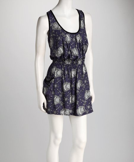 Navy Floral Pocketed Dress