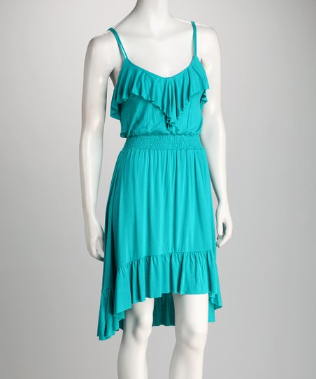 Turquoise Ruffle Hi-Low Dress