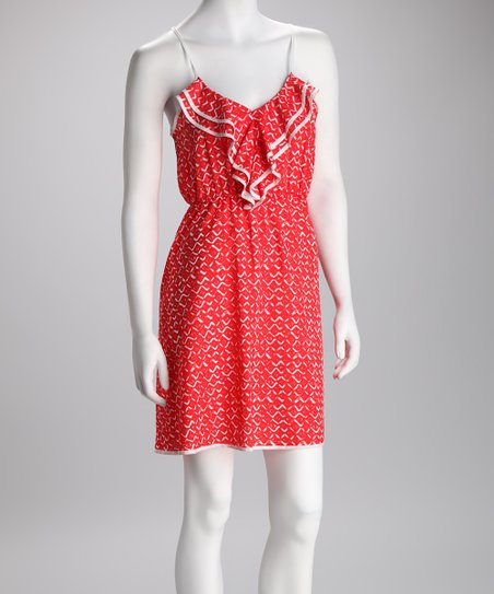 Coral & White Diamond Ruffle Dress