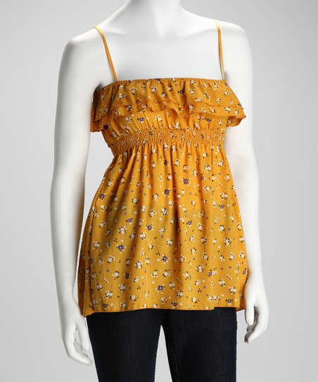 Yellow &amp; White Floral Ruffle Camisole