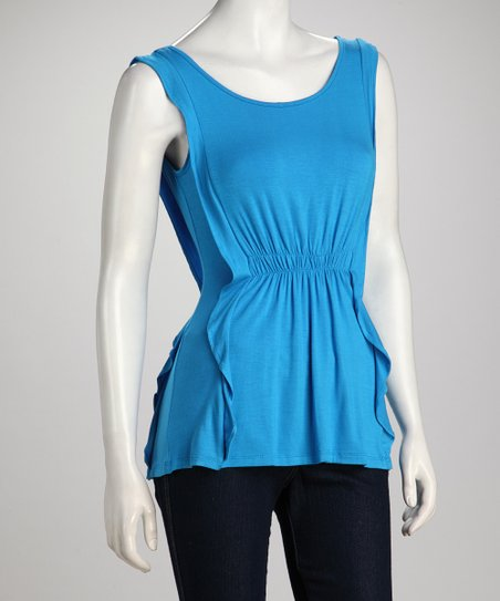 Turquoise Gathered-Waist Sleeveless Top