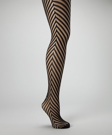 Black Chevron Stripe Fishnet Tights
