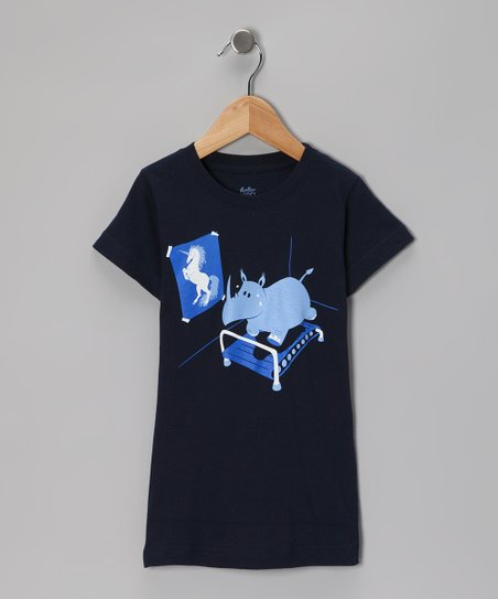 Navy Runnin' Rhino Tee - Girls